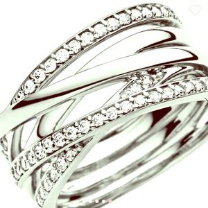 Pandora Sparkling and Polished Lines Ring